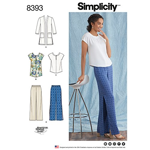 Simplicity patroon 8393 dames en plus maat broek, tuniek of top, en Knit Cardigan, papier, wit, 22 x 15 x 1 cm