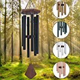 Memorial Wind Chimes for Outside Deep Tone, Wind Chime Outdoor Sympathy Wind-Chime Personalized with 6 Tuned Tubes, Elegant Chime for Garden Patio Balcony and Home Matte Black
