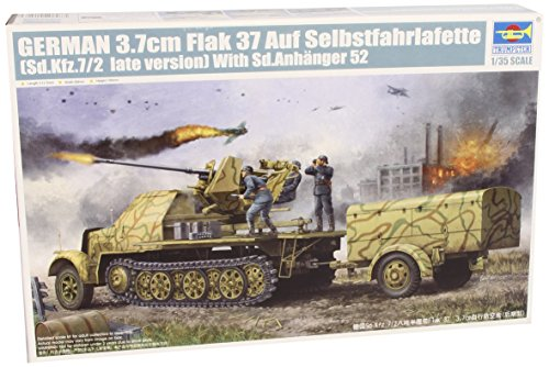 Trumpeter 1/35 German SdKfz 7/2 Late Version Halftrack with 3.7cm Flak 37 Gun and Supply Trailer