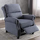 IOMOR Recliner Chair, Ergonomic Push Back Arm Chair, Manual Recliner with Rivet Decoration, Navy