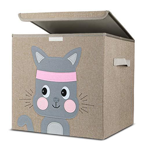 Aufbewahrungsbox Kinder, Kinder Aufbewahrungsboxen mit Deckel, Niedliche Spielzeugkiste, Aufräumsack für Kinderzimmer, Faltbox für Spielzeugaufbewahrung, Aufbewahrungskorb Kinder(Kätzchen)