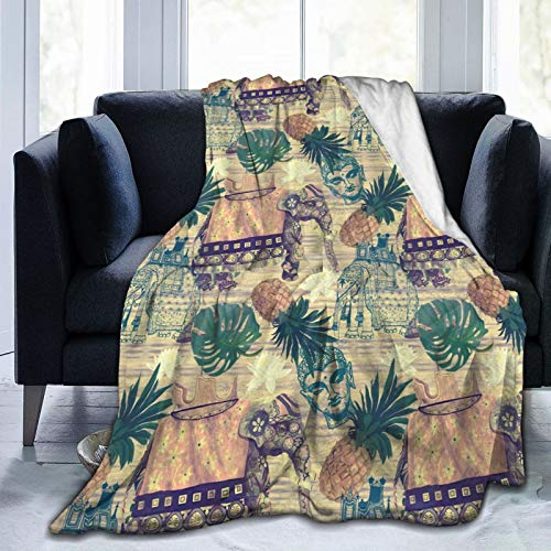 Gaseekry Blanket Indian Elephants Pineapples Buddha Fleece Flannel Throw Blankets for Couch Bed Sofa Car,Cozy Soft Blanket Throw Queen King Full Size for Kids Women Adults 80'X60'