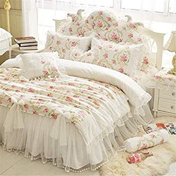 LELVA Girls Bedding Set Lace Ruffle Duvet Cover Sets with Bed Skirt Princess Bedding Set Vintage Floral Print Duvet Cover Twin Size 4 Piece  Twin White
