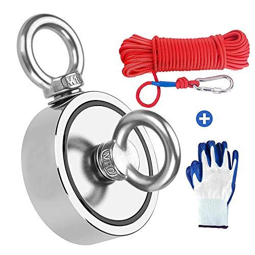 MEIXI 420KG Haftkraft Doppelseitig Neodym Ösenmagnet mit Seil (20M/66ft) und einem Paar Handschuhen, Super Stark Magnete Perfekt zum Magnetfischen Magnet Angel Ø 75mm mit Öse Neodymium Topfmagnet