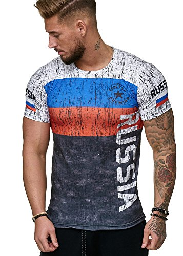 Herren T-Shirt Flag Slim Fit - Alemannia Deutschland Germany WM 2018 WC Weltmeisterschaft World Cup Russland 1005 XXXL [3XL]