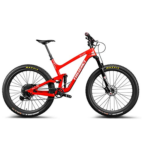 ICANIAN Carbon 27.5er Mountain Bike Full Suspension Trail Bike P1 MTB Bike with Sram Eagle GX Groupset Red Painting