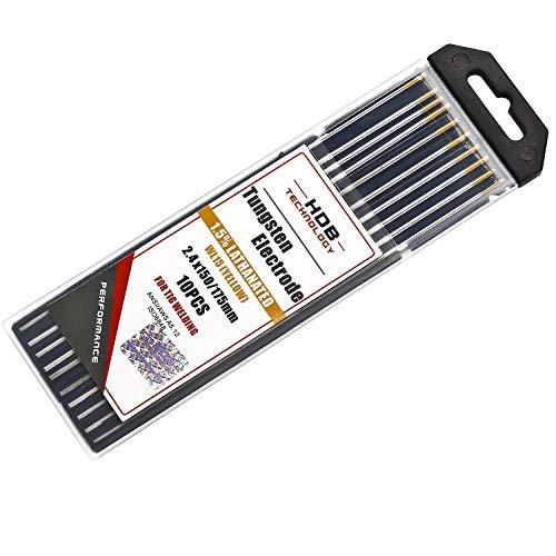 10x Aguja de Electrodos Tungsteno WL-15 Ø2,4 x 175 mm tungsteno TIG Welding Gold WL15 Adecuado para acero inoxidable, titanio, aleación níquel, al carbono etc.