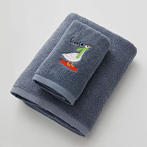 DSJDSFH handdoek, geborduurd, 100% katoen, badhanddoek, comfortabel en duurzaam, 34 x 76,70 x 140 cm