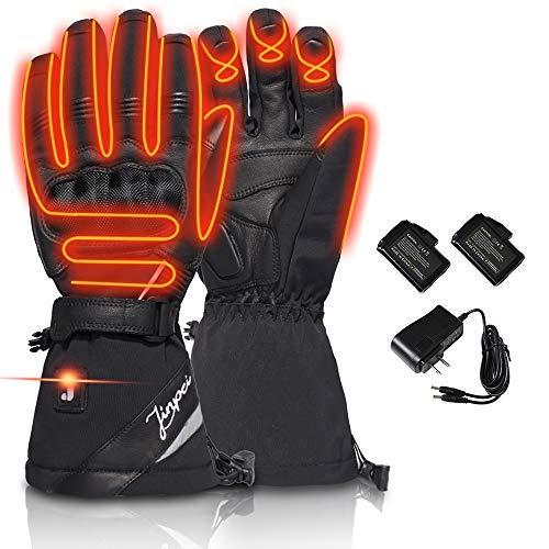 LONHEO Beheizte Handschuhe Elektrische Handschuhe Männer Frauen Akku Handschuhe Motorradhandschuhe Winter Snowboard Schnee Ski Handschuhe Wärmer (Schwarze Motorradhandschuhe, L)