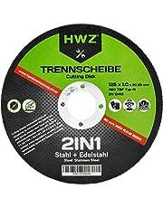 HWZ doorslijpschijven, 10-400 stuks, 125 x 1,0 mm, extra dun voor metaal, roestvrij staal Inox V2A, stalen haakse slijper