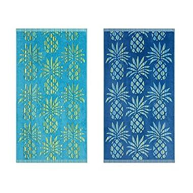 Tommy Bahama Pineapple Stripe Beach Towel Set, 68x36, Assorted