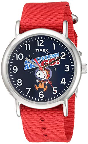 Timex Unisex TW2T82600 Weekender Peanuts NASA Red Nylon Fabric Slip-Thru Strap Watch