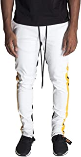 KDNK Men's Tapered Skinny Fit Stretch Twill Color Blocked Ankle Zip Track Pants