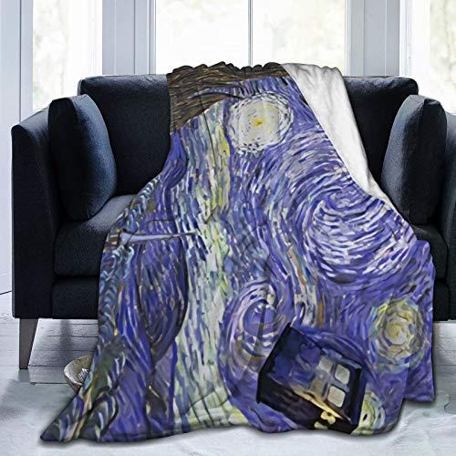 Manta de forro polar ultra suave, con diseño de bola de lana impresa Doctor-Who, manta de cama ligera y suave para adultos y niñas de 132 x 102 cm
