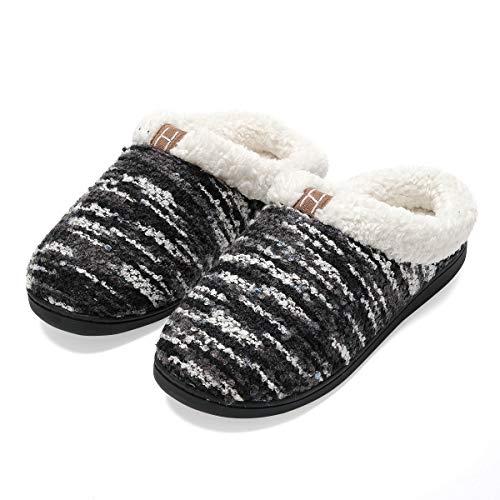 Zapatillas de casa Hombre, Forro algodón, Ultraligero cómodo y Antideslizante, Pantuflas de casa para Hombre, Negro, 40/41 EU