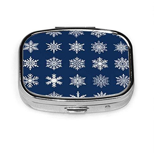 Niedliche Schneeflocken-Kollektion, blaue flache Schneeflocken-Silhouette, schöne Pillendose, Tablet-Halter, Organizer für Tasche oder Geldbörse
