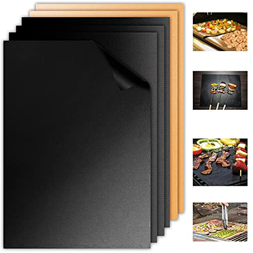 Aoocan Black & Copper Grill Mat Set of 6-100% Non Stick Heavy Duty BBQ Grill Mats, Reusable and Easy to Clean, Works on Electric Grill Outdoor Gas Charcoal BBQ as Seen on TV- Extended Warranty