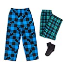 Mad Dog Boy's 2-Pack Micro Fleece Pajama Pants + Slipper Socks (Sizes 4-16)