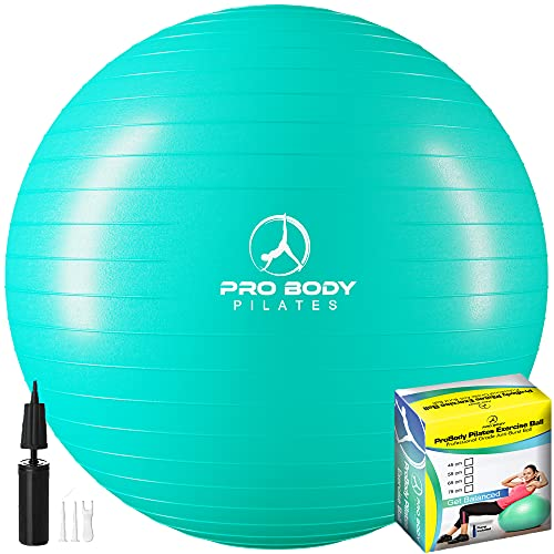 ProBody Pilates Ball Exercise Ball Yoga Ball, Multiple Sizes Stability Ball Chair, Gym Grade Birthing Ball for Pregnancy, Fitness, Balance, and Physical Therapy (Aqua, 45 cm)