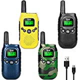 TIDRADIO M3 FRS License Free Walkie Talkies for Adults Long Range Rechargeable, Micro-USB Charging,VOX Scan, LED Lamplight 4 Pack