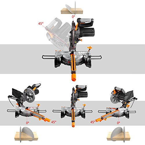 Mitre Saw, TACKLIFE 1500W 4500RPM, 300mm Sliding Miter Saw, Cutting Depth 60mm, Cutting Width 300mm, Saw Blade inclination 0 ° -45 °, Turntable Turn 45 ° Left and Right, Laser Guide, dust Bag -PMS01X
