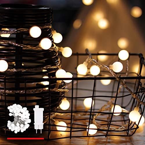 Catena Luminosa, di myCozyLite, Luci Natalizie da Esterno ed Interno, Globo Bianco Caldo, 15M, Luci Stringa Impermeabili Decorative con 100 LED, Trasformatore a Bassa Tensione DC 31V, Espandibile