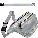 RedOrbis Plus Size Fanny Pack for Women with Extender - Holographic Fanny Pack for Sport Outdoor Travel Hiking - Extra strap Adjustable Belt - 3 Pockets Water-Resistant (silver holographic)