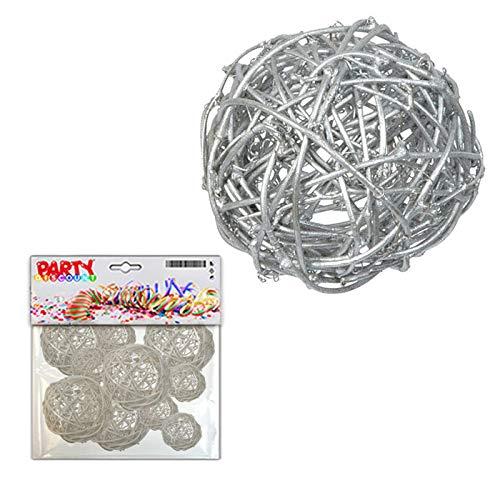 PARTY DISCOUNT ® Rattan Dekoball 10 STK Ø 3,4 & 7 cm, Silber