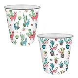 YoL Pack of 2 Colourful Design Waste Paper Bin Cute Home Office Plastic Basket Dustbin - Flamingo & Llama
