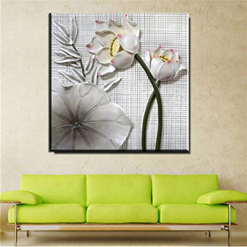 Preisvergleich Produktbild XWArtpic Förderung Klassischen Stil 3D Lotus Blume Blätter Kunst Wandbild Leinwand Malerei Wohnkultur Eine 40 * 40cm