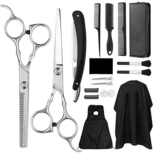 GVOO Haarschere Set,Premium haarschere friseurschere Professionelle friseur set aus Edelstahl zum Ausdünnen und Strukturieren Perfekter Profi Effilierschere für Damen,Herren und Kinder