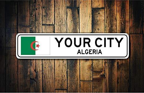 Algerien Fahne Schild Algerien Souvenir Metall Stadt Geschenk Stadt Souvenir Stadt Souvenir Landesflagge Stadt Souvenir Schild Metall Blechschilder für Heimdeko Wand Post Einweihungsgeschenk