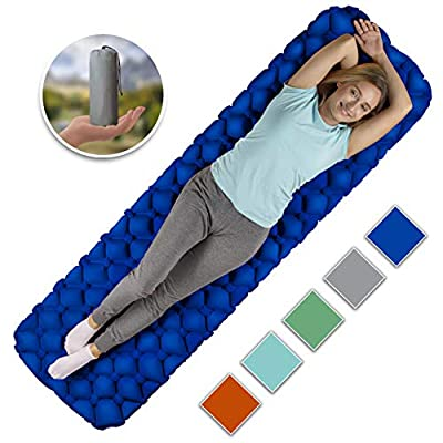 Royexe Heavy Duty Sleeping Pad | Ultra Thick Inflatable Camping Mat | Lightweight Bed for Backpacking, Hiking and Fishing | Compact Sleeping Bag Air Mattress