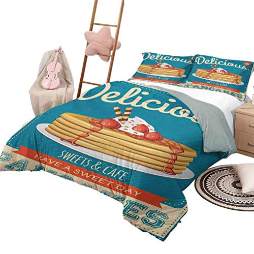 3 Piece Bedding Sets Vintage Printed Quilt Cover Delicious Pancakes with Cream and Jam Eighties Diner Flyer Design Full Size Cream Pale Brown and Blue