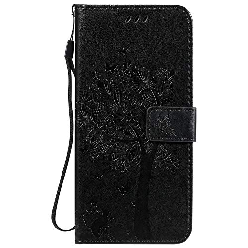 Cover per Xiaomi Redmi 9C NFC Portafoglio Custodia in PU Pelle, Anti Graffio Cover con Slot Carte e Funzione Supporto per Xiaomi Redmi 9C NFC - EYKT022456 Nero