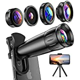 LIERONT [Upgraded] Phone Camera Lens for iPhone Samsung Huawei, 25X Telephoto Lens, 4K HD 0.65X Wide Angle Lens & 25X Macro Lens(Screwed Together), 210° Fisheye Lens, Kaleidoscope Lens, Metal Tripod