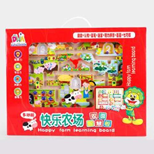 DishyKooker kindertekenplank van hout, labyrinth baby oorlel, magnetische puzzel voor kinderen, intelligent labyrinth