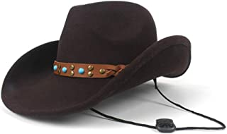 TX GIRL Cowboy Hat Wide Brim Hat Women Men Wool Hollow Western Cowboy Hat for Gentleman Wind Rope Cowgirl Sombrero Cap Novelty Party Costumes (Color : Brown, Size : 56-59cm)
