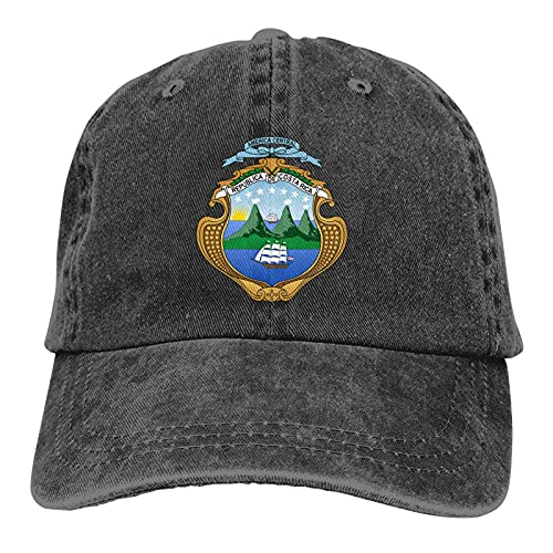 QNCNWI Escudo de Armas de Costa Rica Gorra de béisbol Ajustable Trucker Sombreros Sombrero de Vaquero Camping Negro