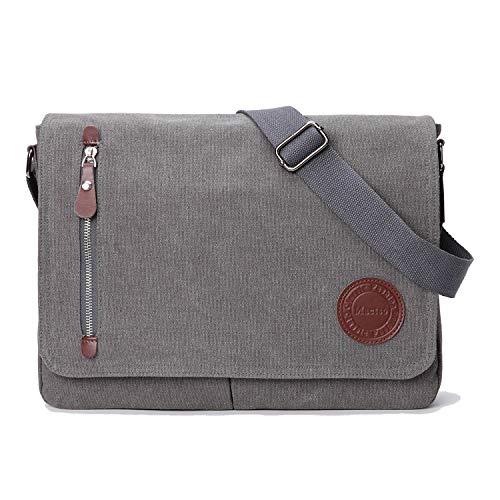 Vintage Canvas Satchel Messenger Bag for Men Women,Travel Shoulder Bag 13.5' Laptop Bags Bookbag (Grey)