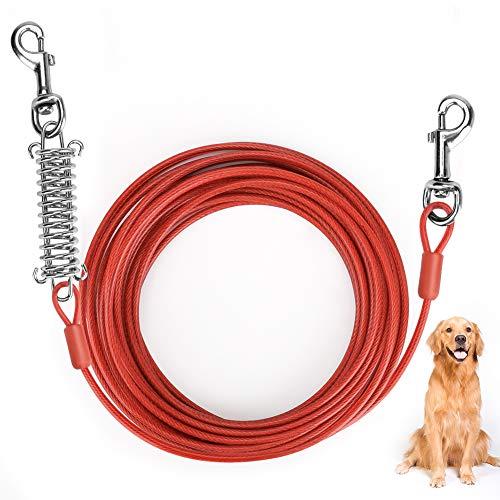 Brynnl - Cable de amarre para perro, 10 m, con resorte duradero y ganchos giratorios de metal, resistente al óxido para todas las razas, perros pequeños a medianos de hasta 150 libras (rojo)
