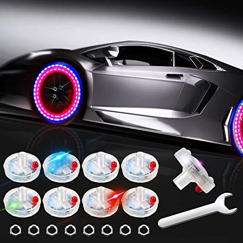 8 Pieces Hub Lamp Cap Lights Car Wheel Lights Car Solar Tire Wheel Lights Solar Energy Flashing...