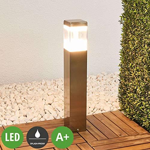 Lindby LED Außenleuchte \'Baily\' (spritzwassergeschützt) (Modern) in Alu aus Edelstahl (1 flammig, A+, inkl. Leuchtmittel) - Wegeleuchte, Pollerleuchte, Wegelampe, Sockelleuchte