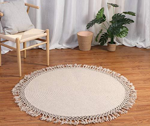 Miituuele Moderner Wolle Teppich Designer Wollteppich für Wohnzimmer rund Höhe 80cm