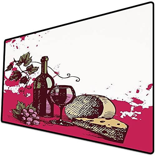 Alfombrilla de ratón (600x300x3 mm) Vino, Vintage Sketchy Artwork Queso Bebida alcohólica Fruta Diseño Abstracto Decorativo, Crema ve Superficie Suave y cómoda de la Alfombrilla de ratón para Juegos
