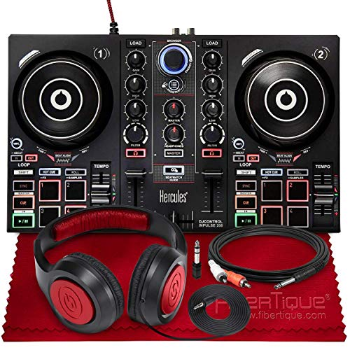 Hercules DJControl Inpulse 200 Compact DJ Controller + Headphone + Basic Accessory Bundle