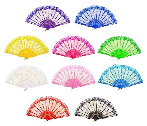 """GZZOU 9""""(23cm) Lace Rose Hollow Out Lace Fan Folding Hand Fans Praise Spring Dance Fan Rose Lace Fan Gift Decorative Fancraft Folding Fan Wedding Fan 10PCS (Multicolor)"""
