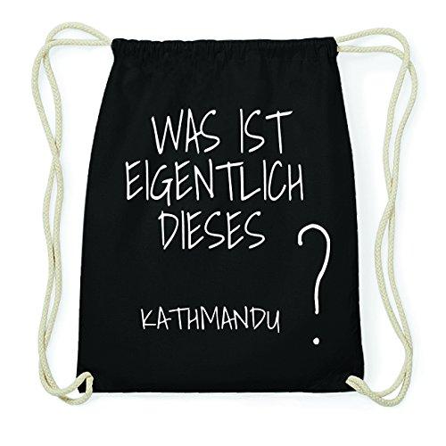 JOllify Kathmandu Hipster Turnbeutel Tasche Rucksack aus Baumwolle - Farbe: schwarz – Design: was ist eigentlich - Farbe: schwarz