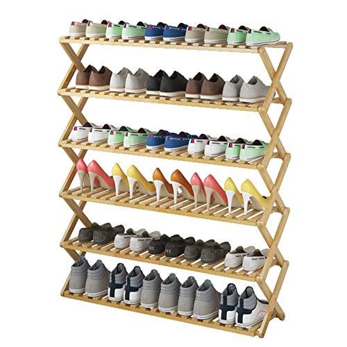 Jklt Práctico Zapatero Zapato Plegable de 6 Capas Almacenamiento y organización Rack Bambú apilable Zapato Duradero. Fácil de Usar (Color : Khaki, Size : 100x25x113cm)