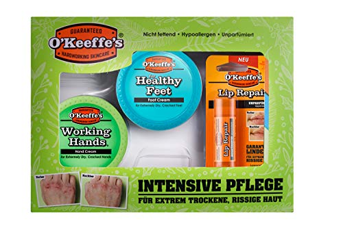 El set de regalo de O'Keeffe, incluye 1 crema de manos Working Hands, 1 crema para pies Healthy Feet, 1 bálsamo labial sin perfume.